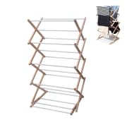 INNOKA Adjustable Clothes Drying Rack Laundry Folding Hanger Dryer Indoor Outdoor Foldable Household - Wooden/Silver