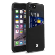 Cobble Pro Rear Slim Leather Shell Case with Card Slot Wallet Holder Pouch for Apple iPhone 7 - Black