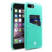 Cobble Pro Leather Slim Rear Protective Shell Case with Card Slot Wallet Holder for Apple iPhone 7 Plus - Turquoise