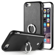 Cobble Pro 360? Rotation Ring Stand Grip Holder Leather Back Protective Case for Apple iPhone 6 / 6s - Black