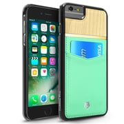 """Cobble Pro Turquosie Rear Genuine Leather Card Slot Shell Wallet Case (Maple Wood Designed) for iPhone 6s / 6 Plus 5.5"""""""