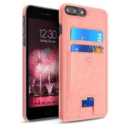 Cobble Pro Slim Leather Protective Rear Case with Dual Card Slot Holder for Apple iPhone 7 Plus - Pink