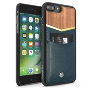 Cobble Pro Dark Blue Genuine Leather Rear Card Wallet Shell Case (Cherry Wood Designed) for Apple iPhone 7 Plus
