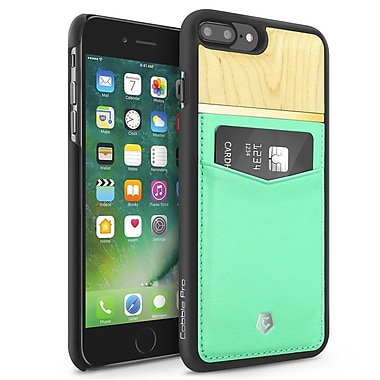 Cobble Pro Turquoise Rear Slim Genuine Leather Card Shell Case (Maple Wood Designed) for Apple iPhone 7 Plus