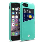 Cobble Pro Rear Slim Leather Shell Case with Card Slot Wallet Holder Pouch for Apple iPhone 7 - Turquoise