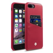 Cobble Pro Leather Slim Rear Protective Shell Case with Card Slot Wallet Holder for Apple iPhone 7 Plus - Burgundy Red