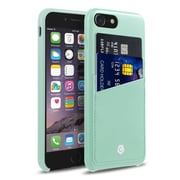 Cobble Pro Rear Slim Leather Shell Case with Card Slot Wallet Holder Pouch for Apple iPhone 7 - Mint Green