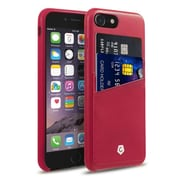 Cobble Pro Rear Slim Leather Shell Case with Card Slot Wallet Holder Pouch for Apple iPhone 7 - Burgundy Red