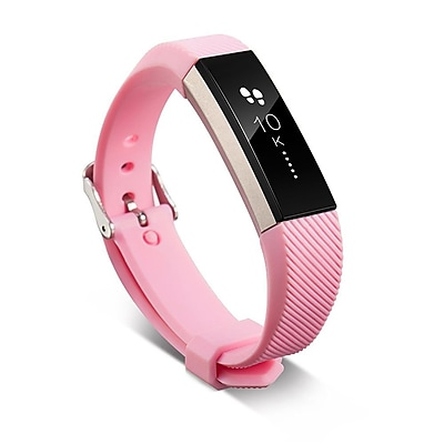 Zodaca For Fitbit Alta - TPU Rubber Wristband Replacement Sports Watch Wrist Band Strap Metal Buckle Clasp - Light Pink