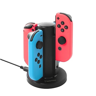 Insten Joy-Con Charge Stand 4 - Controllers Charging Dock Desktop Charger USB Powered w/LED for Nintendo Switch - Black