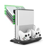 Insten® Vertical Stand Dual Controller Charging Station Dock with Cooling Fan for Microsoft Xbox One S, Black(2376002)