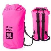 Zodaca 20L Waterproof Outdoor Adventure Dry Bag Backpack for Kayaking Boating Floating Swimming Camping Sports - Pink