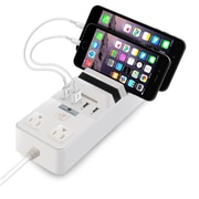 Cobble Pro 4-Port (5.1A) USB Charging Station with 2 AC Outlets Power Brick Surge Protector (Built-in Multi Device Stand