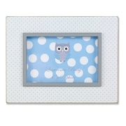 "Lawrence Frames 4""W x 6""H Distressed White Wood Frame With Blue Polka Dot Pattern (377064)"