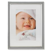 "Lawrence Frames 4""W x 6""H Matted Gray Enamel and Silver Metal Picture Frame - 6x8 Without Mat (648046)"