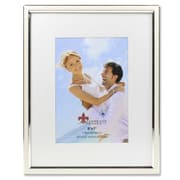 "Lawrence Frames 5""W x 7""H Matted Ivory Enamel and Silver Metal Picture Frame - 8""W x 10""H Without Mat (648457)"