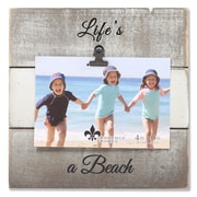 """Lawrence Frames 4""""W x 6""""H Weathered Gray and White Woodlands Clip Picture Frame - Beach (742564)"""