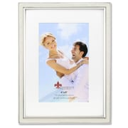 "Lawrence Frames 4""W x 6""H Matted Ivory Enamel and Silver Metal Picture Frame (648446)"