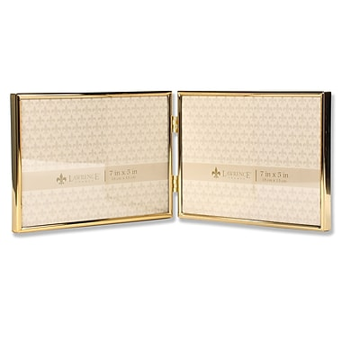 Lawrence Frames 7x5 Hinged Double Simply Gold Metal Picture Frame (670075D)