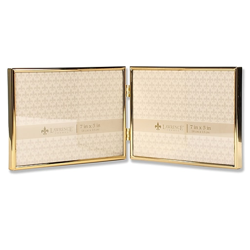 Lawrence Frames 7x5 Hinged Double Simply Gold Metal Picture Frame ...