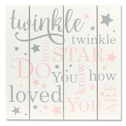 "Lawrence Frames 9""W x 9""H Distressed White and Pink Wood Panel Sign - Twinkle Twinkle (377699)"