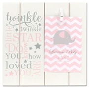 "Lawrence Frames 4""W x 6""H Distressed White and Pink Wood Frame - Twinkle Twinkle (377546)"