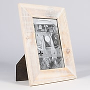 """Lawrence Frames 4""""W x 6""""H Sarasota Whitewash and Weathered Natural Wood Picture Frame (746046)"""