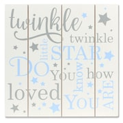 "Lawrence Frames 9""W x 9""H Distressed White and Blue Wood Panel Sign - Twinkle Twinkle (377299)"