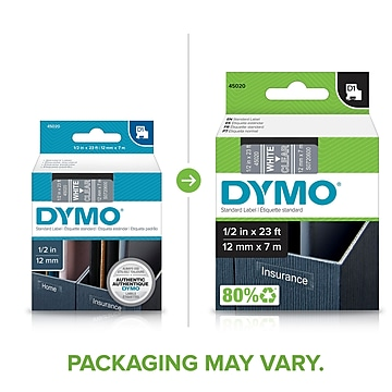 """DYMO Tape Cartridge for Electronic Label Makers, White on Clear, 1/2""""W x 23'L"""
