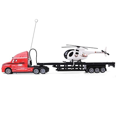 Remote Control Red Big Rig Transport Truck With Helicopter (TOYCAR162)