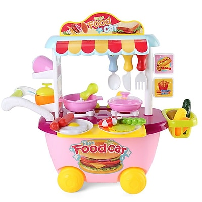 Serve N Go Kitchen Food Cart On Wheels Portable Pretend Play Children Cooking Kit Stove Utensils (TOYKIT101)