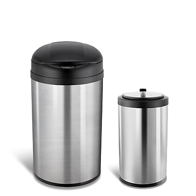 Nine Stars Stainless Steel Motion Sensor Combo Trash Can, 10.5 Gallon / 3.1 Gallon, Silver (CB-40-8/12-18)