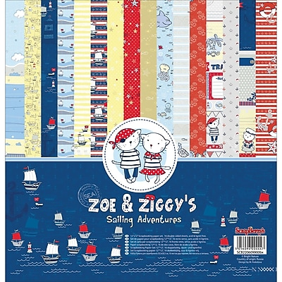 ScrapBerry's Sailing Adventures, 8 Double-Sided/2ea Zoe & Ziggy's Paper Pack, 12