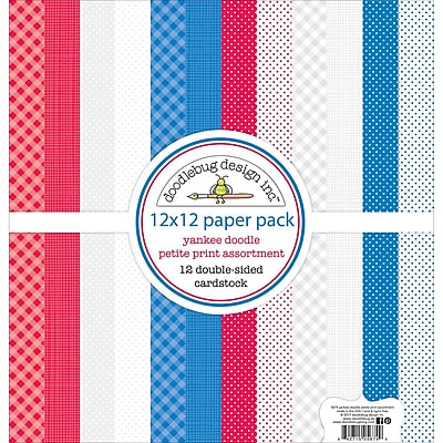 Doodlebug Yankee Doodle Petite Prints Double-Sided Cardstock, 12