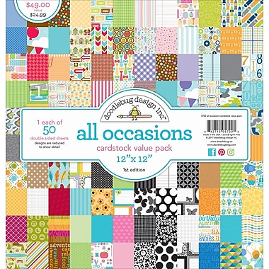 Doodlebug All Occasions Value Kit Cardstock, 12