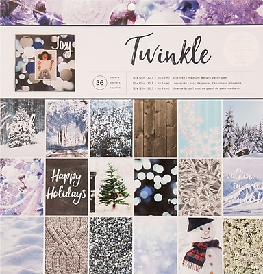 American Crafts Photo Real Twinkle Holiday Single-Sided Paper Pad, 12