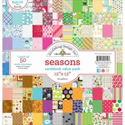 "Doodlebug Seasons Value Kit Cardstock, 12"" x 12"", 50/Pkg (DBVK-5719)"