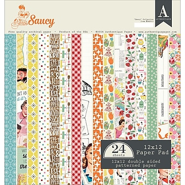 Authentique Paper Saucy, 8 Designs/3 Each Double-Sided Cardstock Pad, 12