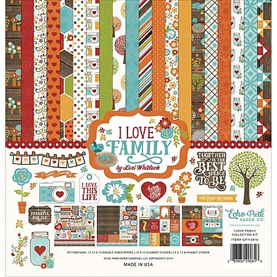 Echo Park Paper I Love Family Collection Kit, 12
