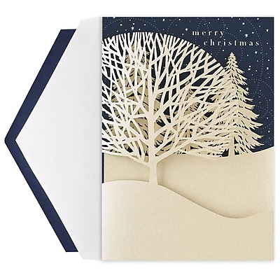 JAM Paper® Christmas Card Set, Winter Treeline, 12 Cards & 12 Envelopes per pack (526E1222MBZ)