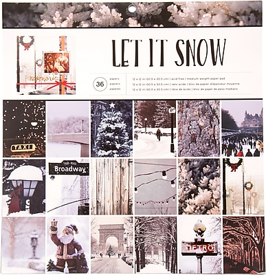 American Crafts Photo Real Let It Snow Holiday Single-Sided Paper Pad, 12