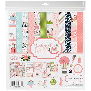 Echo Park Paper Rock-A-Bye Baby Girl Carta Bella Collection Kit, 12