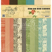 """Graphic 45 Off To The Races Print & Solid 12 Design Double-Sided Paper Pad, 12"""" x 12"""", 24/Pkg (G4501461)"""