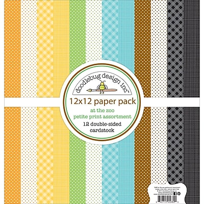 Doodlebug At The Zoo Petite Prints Double-Sided Cardstock, 12