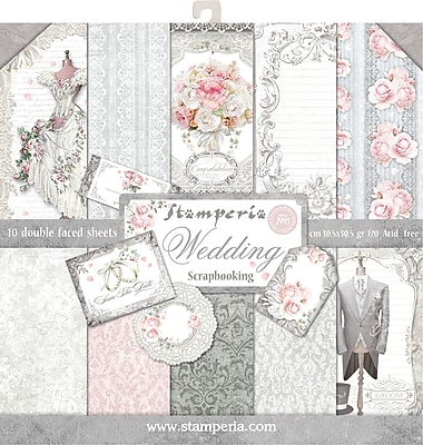 Stamperia Intl Wedding, 10 Designs/1 Each Double-Sided Paper Pad, 12