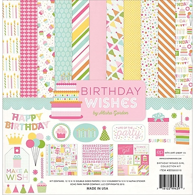 Echo Park Paper Birthday Wishes Girl Collection Kit, 12