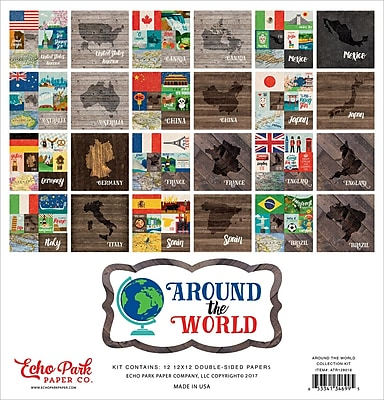 Echo Park Paper Around The World, 12 Double-Sided Papers Collection Kit, 12