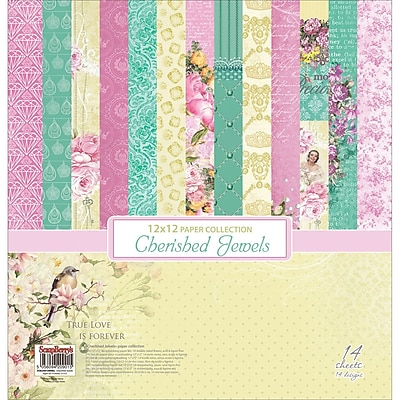 ScrapBerry's 7 Double-Sided Designs/2 Each Cherished Jewels Paper Pack, 12