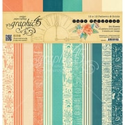 """Graphic 45 Cafe Parisian Print & Solid, 12 Designs Double-Sided Paper Pad, 12"""" x 12"""", 24/Pkg (G4501435)"""