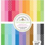"Doodlebug Gingham/Linen Rainbow, 24 Colors/1 Each Petite Prints Rainbow Cardstock, 12"" x 12"", 24/Pkg (MGL5447)"